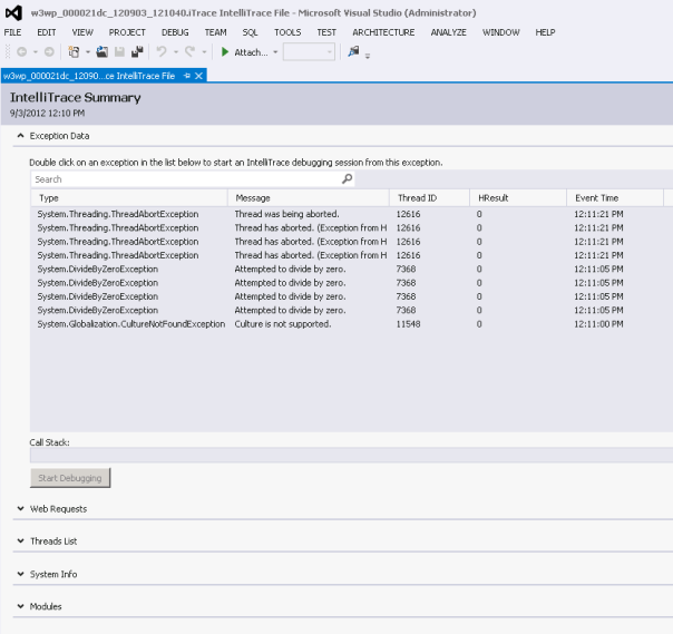 .iTrace file opened with VS 2012